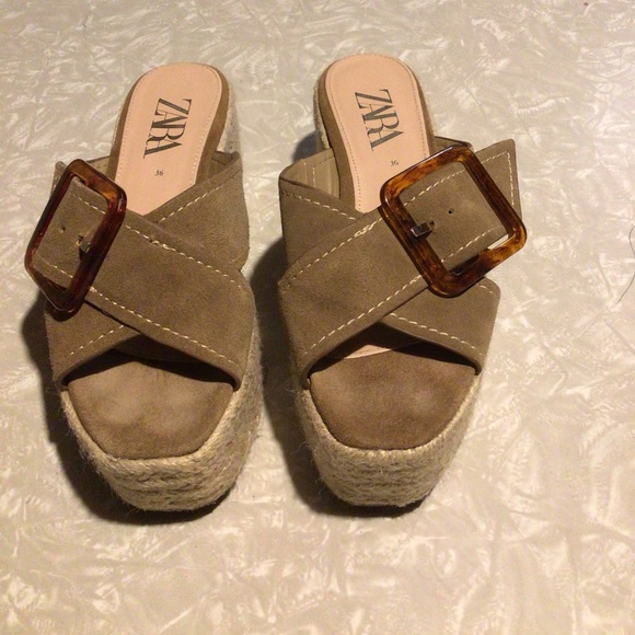 Zara wedge heel espadrilles clogs.brown buckle 36.